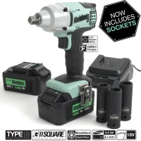 Image for Kielder 1/2 Inch Drive Impact Wrench 18V With 2 x 4.0 AH Batteries And 3 x Impact Sockets